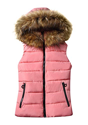 YMING Damen Pelzkragen Reißverschluss Weste Baumwolle Slim Weste Winter Warmer Kapuzenmantel Lässiger Outdoor Mantel Rosa M