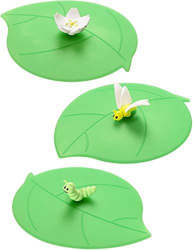 Lurch 210192 Mein Deckel Sommer 3-er Set (Apfelblüte, Schmetterling, Raupe), Glasabdeckungen aus 100% BPA-freiem Platin Silikon, Ø 10,5cm