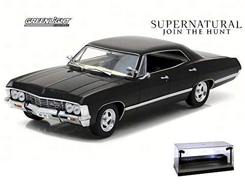 Diecast Car w/LED Display Case - 1967 Chevy Impala Sport Sedan, Supernatural - Greenlight 84032 - 1/24 Scale Diecast Model Toy Car