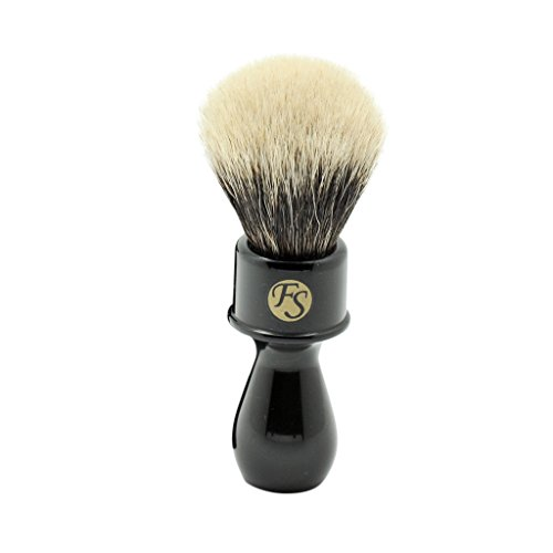 2 Band Finest Badger Hair Shaving Brush with Black Color Extra Long Handle Free Stand