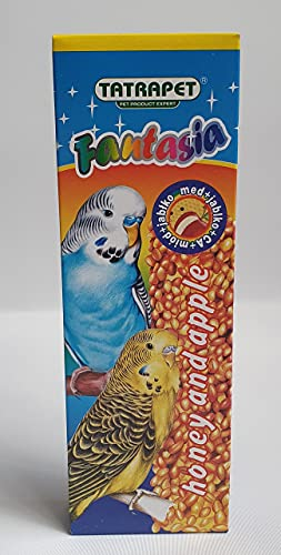 Mani-Ko 2x Stick Bird Food 85g HONEY - APPLE Budgie Parakeets Parrot Canary Finches Seed Pack of Two Treats with Hooks