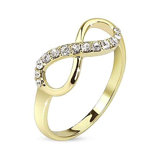 49 (15.6) Bungsa® Infinity Ring gold Unendlichkeits Symbol schmal Größen 49 52 54 57 60 (Ring Damen Fingerring Partnerringe Verlobungsringe Trauringe Damenring Brass)