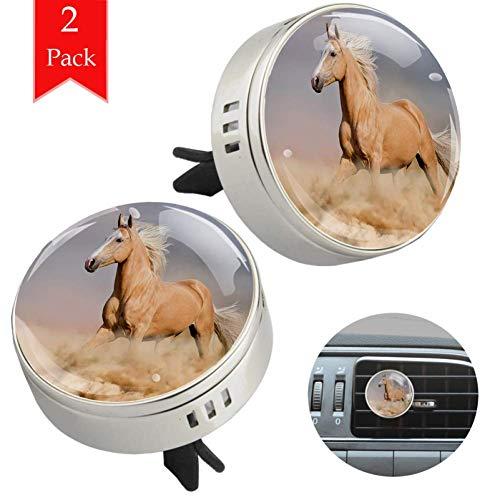 LORVIES Palomino Paard In Zand Woestijn Met Lange Blond Mannelijk Haar Vermogen Wild Diffuser Auto Aromatherapie Etherische Olie Diffuser Vent Clip Luchtverfrisser, 2 STKS