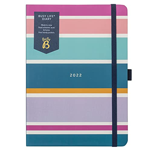 Busy B Busy Life Diary January to December 2022 – A5 Stripe Week to View Planner with Dual Schedules, Pen Holder and Pockets