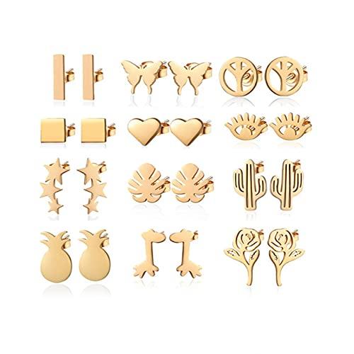 TIANGUO 24 unids/Set Pendientes Minimalistas de Acero Inoxidable con Forma de Mariposa y corazón para Mujer, pequeñas Hojas Doradas, joyería de Boda de Mal de Ojo