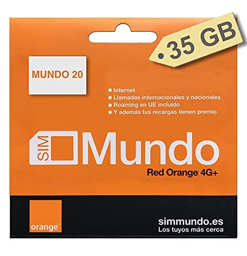 Orange - Tarjeta SIM Prepago (Mundo-20) - 35 GB en España | Llamadas Nacionales 5000 Minutos | Activación Online | 11 GB Roaming en Europa | Velocidad 4G