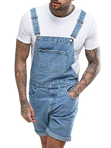Runcati Mens Denim Shorts Bib Overall Jean Romper Casual Loose Fit Walkshort Button Pockets Summer Jumpersuit