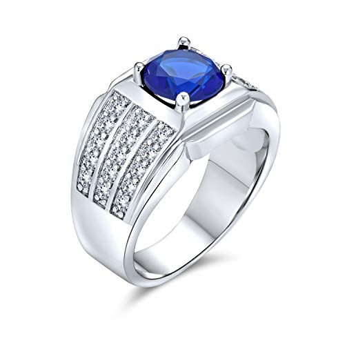 AAA Cubic Zirconia Simulated Blue Sapphire Pinky Ring 3 Row Pave 3 CT CZ Solitaire Mens Engagement Ring Wide Band Silver Plated Brass