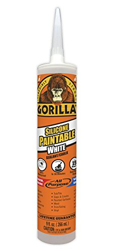 Product Image of the Gorilla Paintable Silicone Sealant Caulk, Waterproof and Mold & Mildew Resistant, 9 ounce Cartridge, White, (Pack of 1)