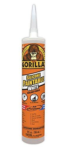 Gorilla 8070002 Paintable Silicone Sealant, 9 oz, White, 1-Pack