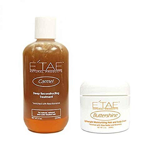 E'TAE Natural Products Carmel Deep Reconstructing Treatment 8oz, Buttershine Moisturizing Hair and Scalp Cream 2oz