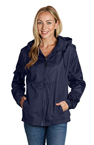 Equipment de Sport USA Ladies Hooded Wind Resistant/Water Repellent Windbreaker Jacket,Navy,Large