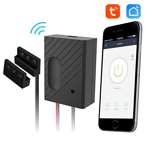 EACHEN Garage Remote Compatible Wireless Smart Home Garage Door Openers - Control Using Smart Phone, Amazon Alexa and Google Assistant Enabled Devices, with TUYA Smart Life App, Black GD-DC5