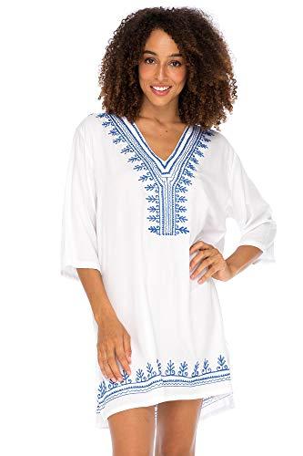 Unbekannt Back from Bali Damen-Badeanzug, Boho Bestickt, lockere Passform, lässige Tunika, Kleid - Weiß - Small/Medium