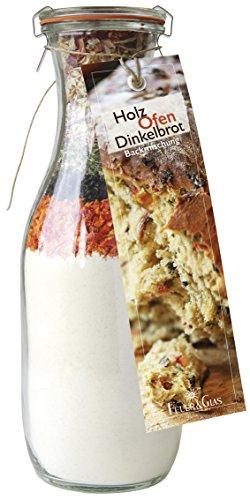 Backmischung im Weckglas für Holz-Ofen-Dinkel- Brot- Raffinierte Geschenkidee für Backfreunde- Backzutaten für die einfache Zubereitung von Holz-Ofen-Dinkelbrot- Gourmetbackmischung von Feuer & Glas