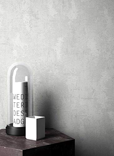 NEWROOM Steintapete Tapete Grau Putz Beton Uni Vliestapete Modern Vlies moderne Design 3D Optik Struktur Bauhaus inkl. Tapezier Ratgeber