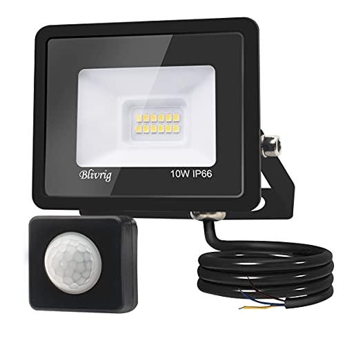 Blivrig Projecteur LED détecteur de mouvement 10W,1000LM IP66 Imperméable Spot LED Extérieur Puissant,Blanc Chaud(3000K) eclairage exterieur led pour Jardin Terrasse Garage Patio Grange Cour