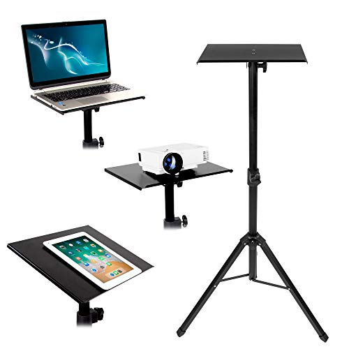 Mount-It! Tripod Projector Stand, Adjustable DJ Laptop Stand with Height and Tilt Adjustment, Portable Laptop Projector Table with Steel Tripod Base and Tray, Black Kentucky