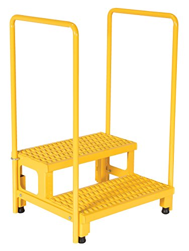 """Price comparison product image Vestil ASP-24-HR Steel Adjustable Step Mate Stand,  2 Step with Handrail,  24"""" x 23"""",  Yellow"""