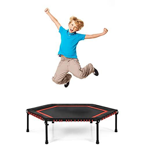 COSTWAY φ 126 cm Mini Trampolin, Fitness Trampolin faltbar, Kindertrampolin, Gartentrampolin, Indoor- und Outdoortrampolin für Erwachsene und Kinder