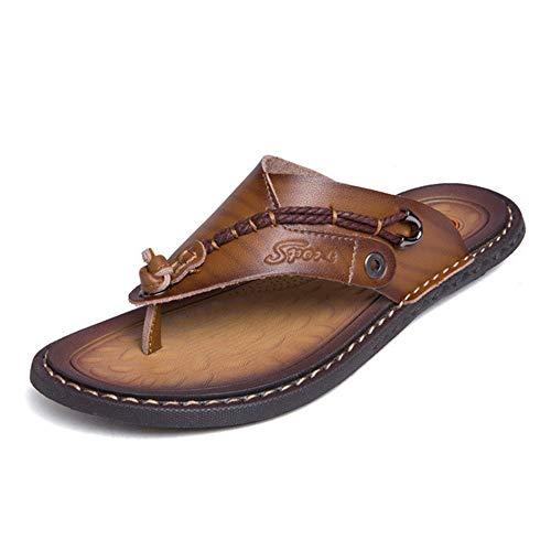 ZAJE Herren Hausschuhe weich bequem Mikrofaser Leder Hausschuhe Strandschuhe Flip-Flops Sommer Herren Schuhe, Braun - braun - Größe: 39 EU