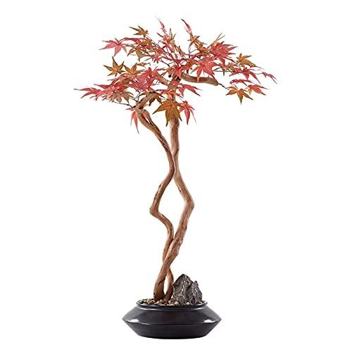 FGVBC NEP Planten Kunstmatige Esdoorn Bonsai Simulatie Esdoorn Bladeren Keramische Bloempotten Natuurlijke Kiezels Thuis Studie en Woonkamer Decoratie Kunstmatige Bonsai