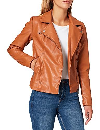 Only Onlmelisa Faux Leather Biker CC Otw Chaqueta de Cuero sinttico, marrón Claro, S para Mujer