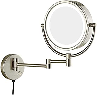 LED Makeup Vanity Mirror, 3X Magnification Beauty Mirror Two-Sided Wall Mounted Bathroom Mirror 360° Swivel Extendable Cosmetic Mirror 8inch,Bronze,Bathroom