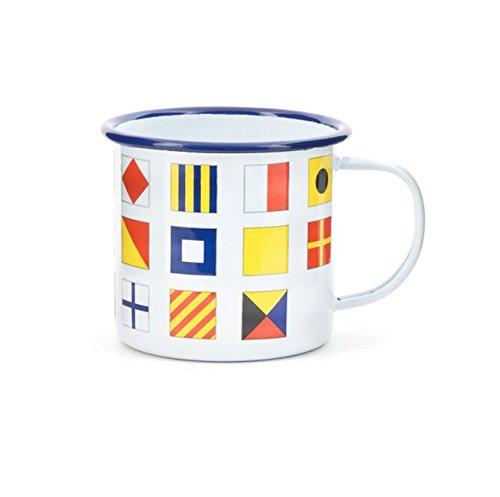 Kikkerland Nautisches Flaggen Emaille Tasse, weiß