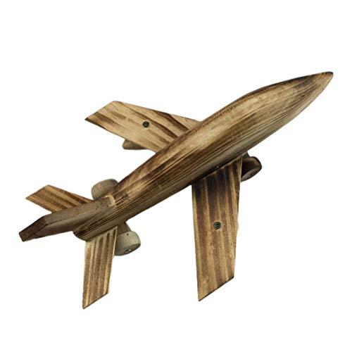 VOSAREA Modelo de avión de Madera Adorno de avión Estatua de avión Decorativa Regalos de cumpleaños de Navidad Adorno Vintage para Tienda de Oficina hogar