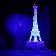 (A set of exquisite small mirror and lamp) Cute LED Eiffel tower night light, Fancy and Romantic! One-Stop Service button, easy ON/OFF control, 9 color-modes switch by turns! Fantastic desklamp Cake Topper or Table Décor, special for kids,adults,fami...