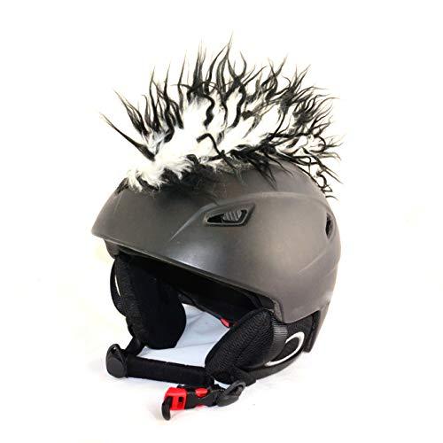 Helm-Irokese für den Skihelm, Snowboardhelm, Kinderskihelm, Kinderhelm, Motorradhelm oder Fahrradhelm - - Der HINGUCKER - Der etwas auffälligere Helm-Aufkleber - Helm-Cover - HELMDEKO (Schwarz-Weiß)