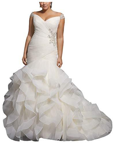 Women's Mermaid Sweetheart Plus Size Wedding Dress Beaded Ruffles Tulle Formal Dresses for Bridal Gown (White,16)