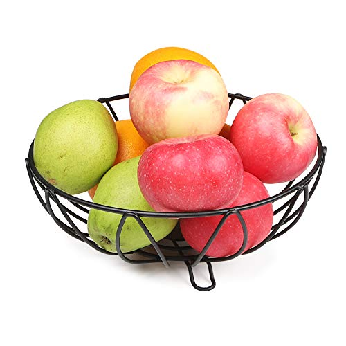 LOTTS Round Fruit Bowl Made of Metal Wire Dining Table and Kitchen Counter Organizer, Modern Fruit Basket and Vegetable Snack Bowl (30 * 30 * 9,5 cm)