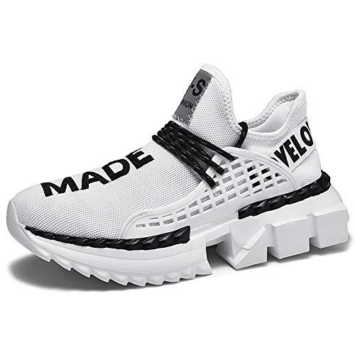 JXILY Hombre Zapatos Confort Suelas Ligeras Zapatillas Gruesas Otoño Invierno Deportivo Deportivo Deportivo Deportivo Diario Al Aire Libre Calzado Deportivo Calzado para Correr,Blanco,39