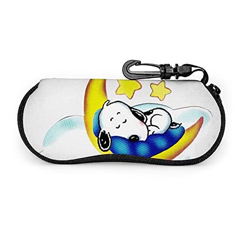 Snoopy With Moon - Funda suave para gafas de sol (neopreno, ultraligero, portátil, con cremallera, funda suave, bolsa de seguridad para gafas, con cierre