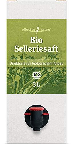 effective nature Selleriesaft aus Bio Stangensellerie – 3 Liter Direktsaft, Ungekühlt Haltbar, Mit Praktischem Zapfhahn, Kalorienarm, Mit wertvollen Nährstoffen, Vollmundiger Geschmack