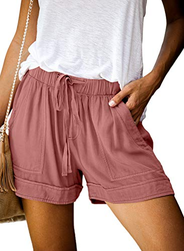 Elapsy Womens Casual Drawstring Elastic Waist Pull on Relaxed Fit Stretch Yoga Training Shorts with Pockets Solid Color Shorts Pants Pink Small