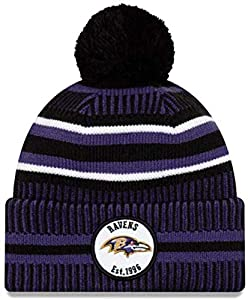 Team Logo Sport Knit Beanie Winter Pom Hat, Fashion Football Cuffed Knit Cap Warm Winter Cozy Hats for Fans (Baltimore-Ravens)