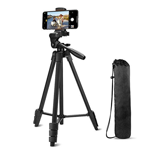 Zetong Phone Tripod 54 inch Lightweight Aluminum Mobile Phone Tripod with Phone Holder & Wierless Remote Shutter and Carry Bag for Travel and Video Shooting - Black