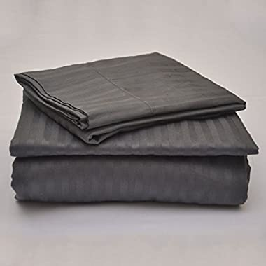 #1 Bed Sheet Set - HIGHEST QUALITY 100% Egyptian Cotton 800 Thread-Count Queen Size Wrinkle, Fade, Stain Resistant - 4 Piece 16  Drop -By Rajlinen  (Dark Grey Stripe, Queen)