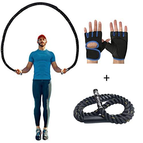 AUTUWT Gewichtetes Springseil mit Handschuhen für Männer und Frauen, Ganzkörper-Workouts Krafttraining verbessern Kraftaufbau Muskelaufbau