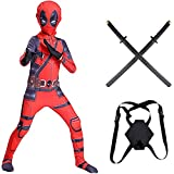 MIANslippers Boys Deadpool Cosplay Traje de los niños Superhéroe con 2 Espadas de PU Swords 3D Body Halloween Personaje de Halloween Traje de Traje de Anime,Red-120~130cm
