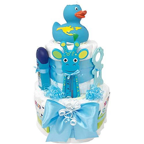Windeltorte Badeentchen Hugo Blau 30tlg. Geschenk zur Taufe oder Geburt Geschenkfertig in Celophan verpackt. Auf Wunsch mit kostenlosen Grußkärtchen und Wunschtext. Junge (Blau)