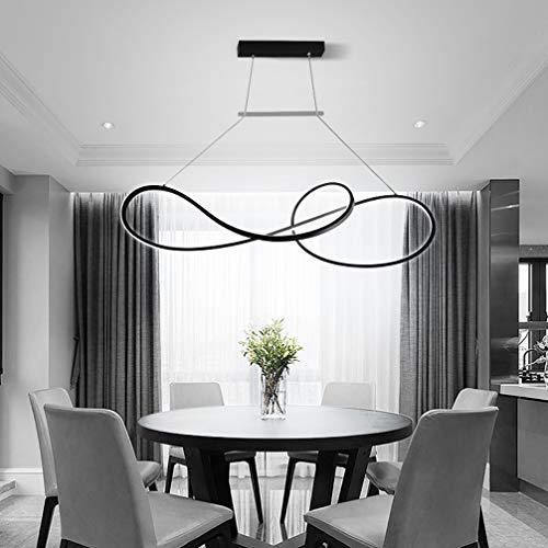 LED Pendelleuchte Dimmbar Hoehenverstellbar Rund Design Pendellampe Esstisch Esszimmer Lampen Modern Ring Hängeleuchte für Wohnzimmer Büro Decke Lampen Kronleuchter (Schwarz)
