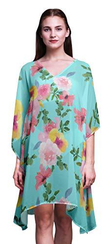 Bimba Watercolor LadiesKaftanHoliday Loungewear Midi Dress Beach Coverup-4X-5X