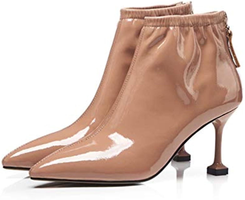 MENGLTX High Heels Sandalen Marke Frauen Stiefeletten Spitz Hochzeit Schuhe Frau Reiverschluss Herbst Winter Büropumpen Damen Grund Stiefel
