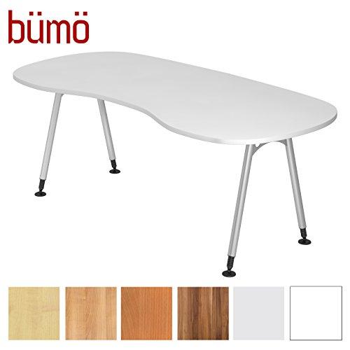 bümö® Schreibtisch höhenverstellbar | Bürotisch in 6 Dekoren & 7 Formen | Büroschreibtisch Profiqualität (Nierenform: 200x100 cm, Weiß)