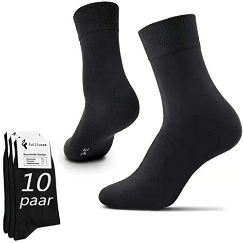 Fullluwaa Socken Herren Damen 10 Paar Business Schwarz Baumwolle Lange Komfortb& (schwarz-10p, 39-42)