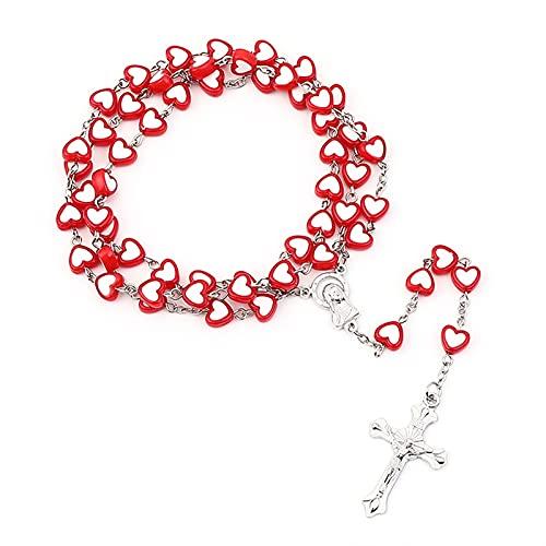 XIALIMY Pulseras Joyería 2021 Tendencia Jesús Cross Cross Rosary Collar Vintage Cross Colgante Collar Católico Regalos al por Mayor Accesorios de aleación de Zinc (Metal Color : XL8-1HON)